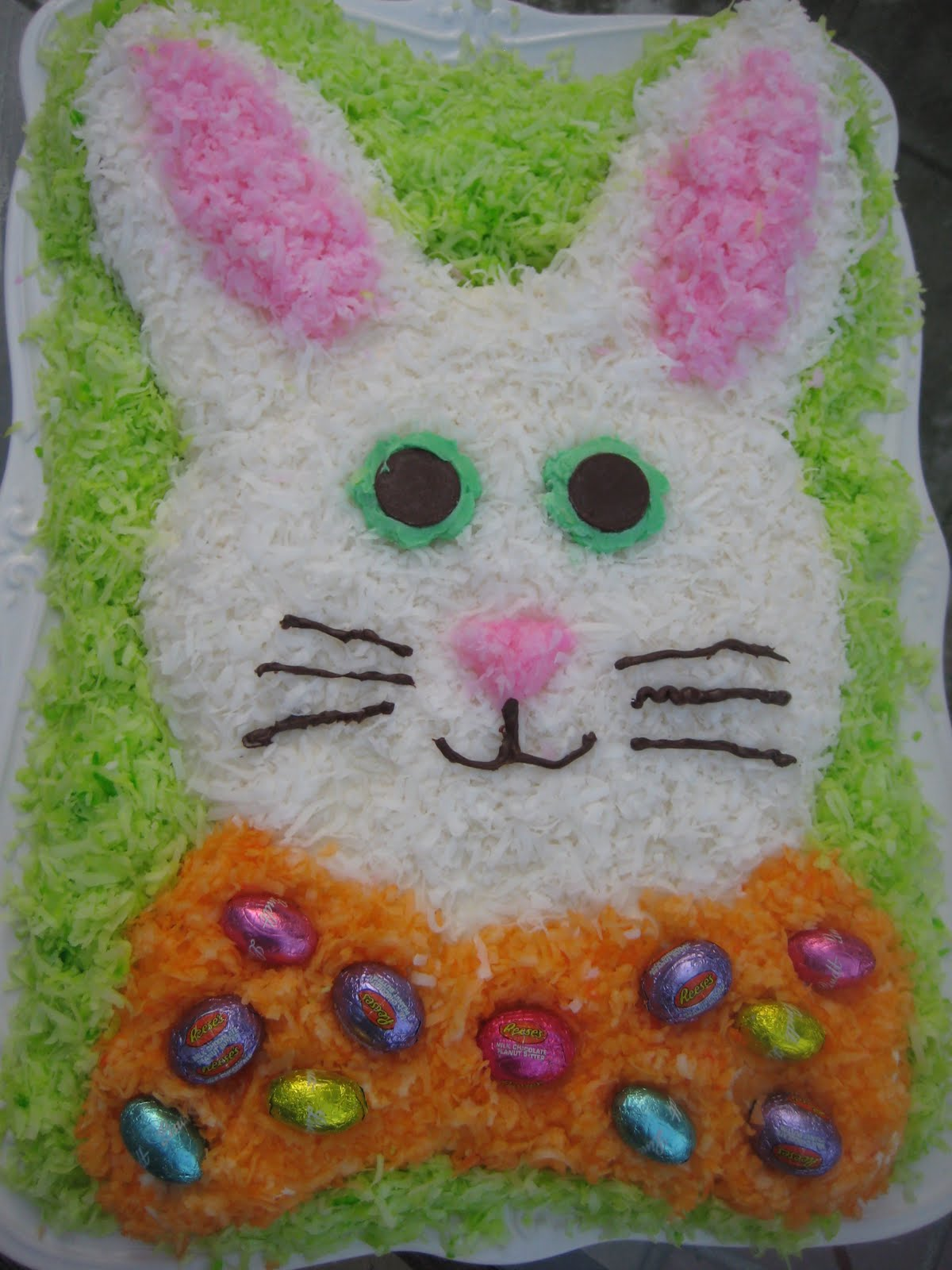 To make this fun Easter Bunny cake, you will need the following ...